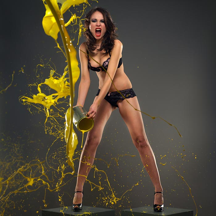 Model throws paint