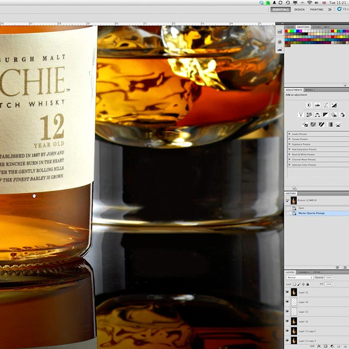 Whisky product retouching