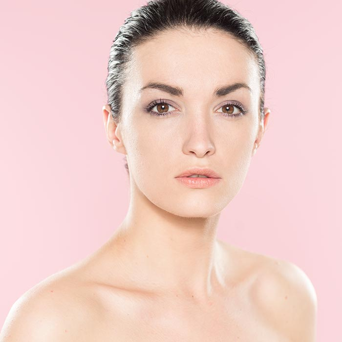 Model portrait using pink backdrop