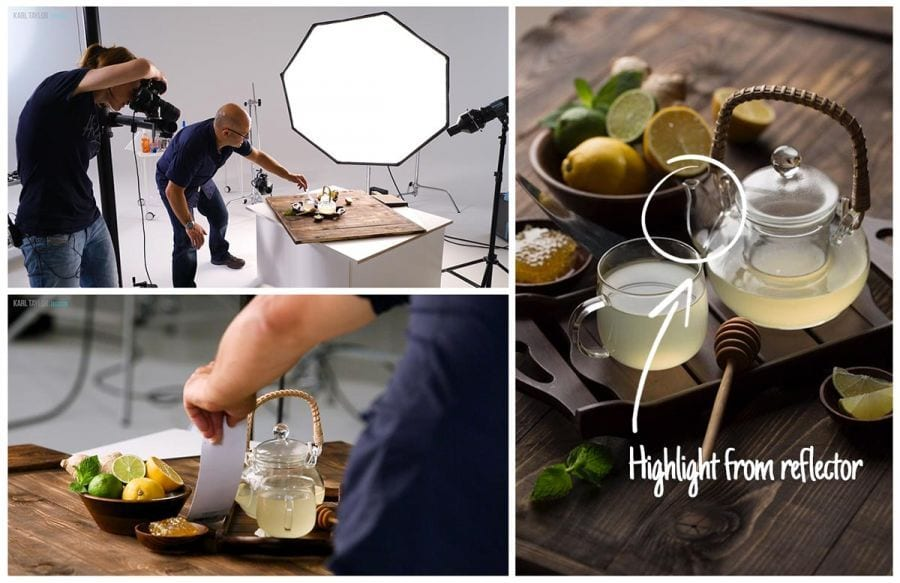 Using reflectors for food photography