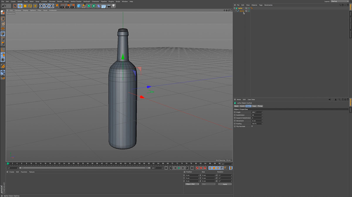 Cinema 4D interface showing wireframe of a bottle.
