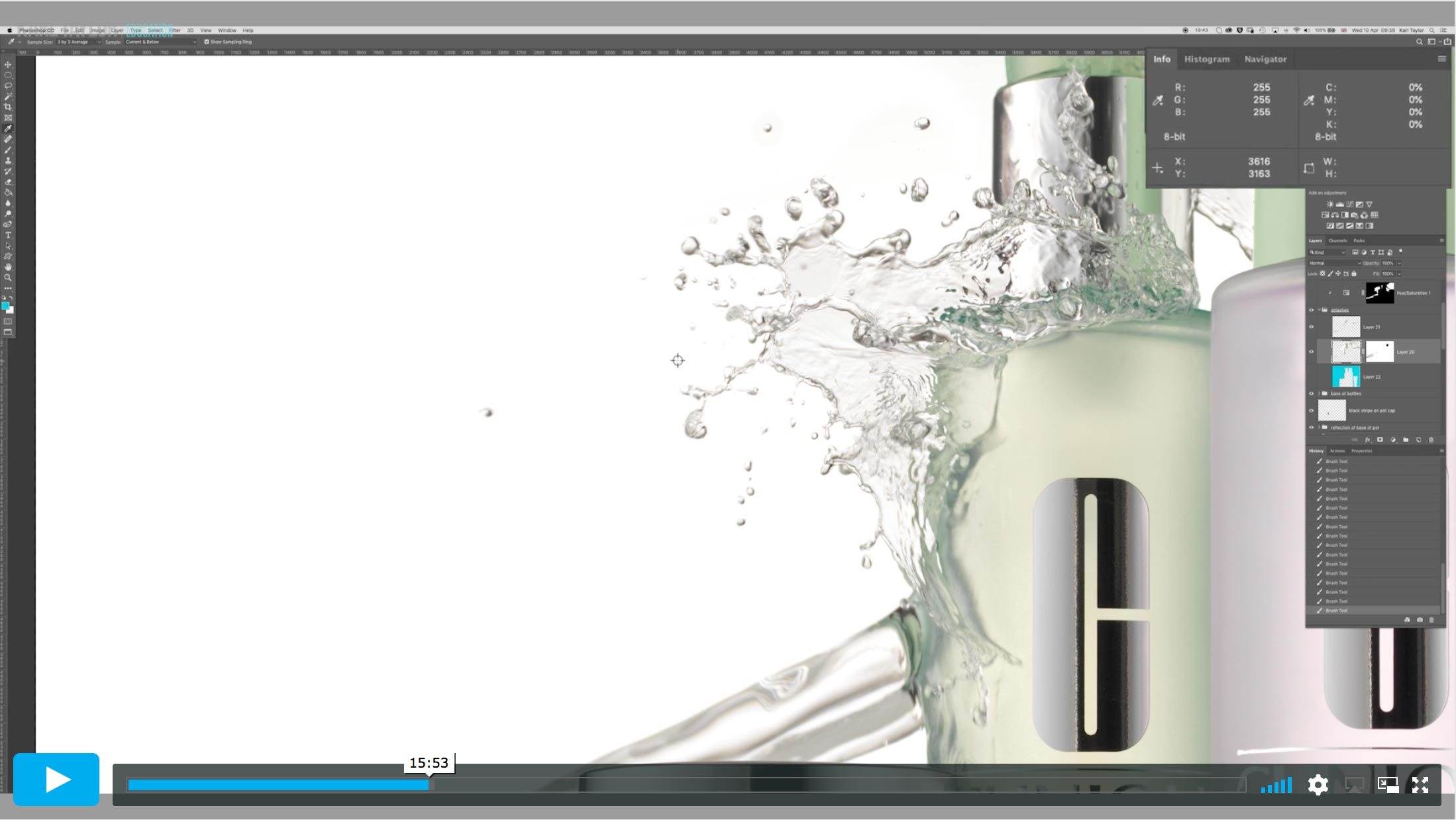 Clinique shoot post production 4: Creating a white background & refining water splash