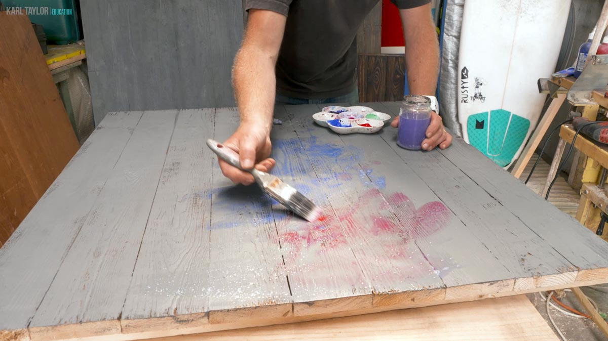 Painting photography backdrops.