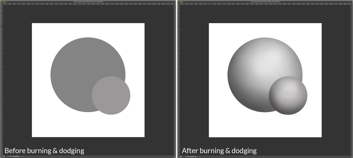 Burn and dodge before and after example
