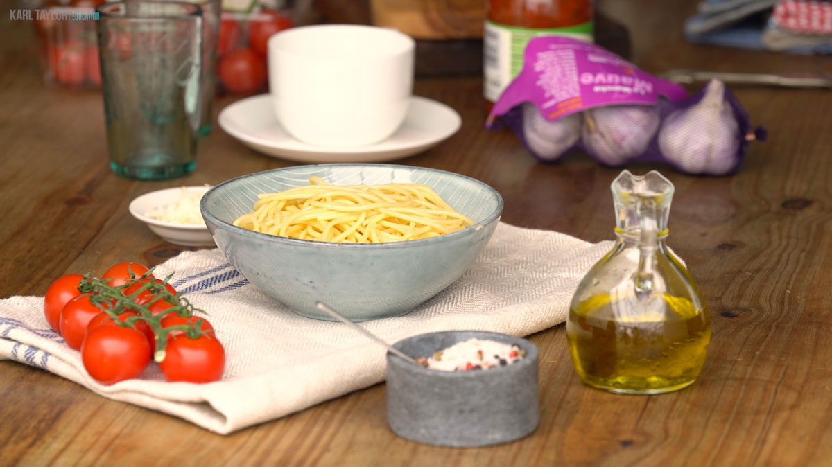 Pasta food photography setup