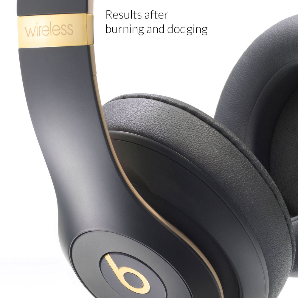 Headphones product image after burning and dodging