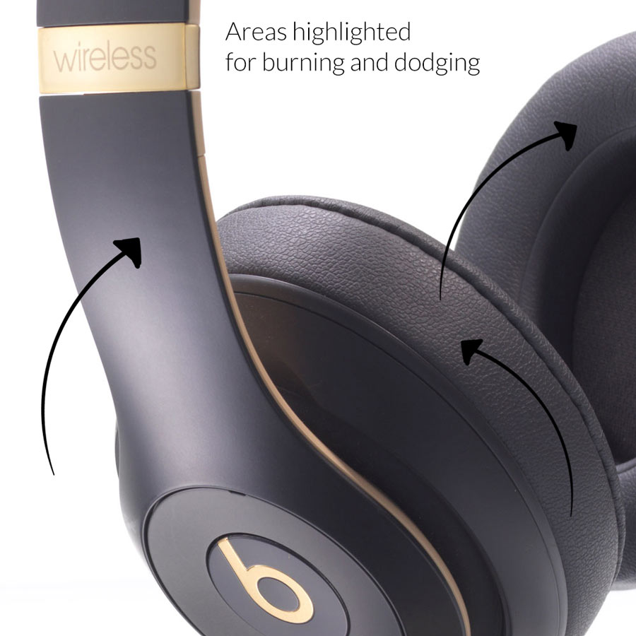 Headphones product image before burning and dodging