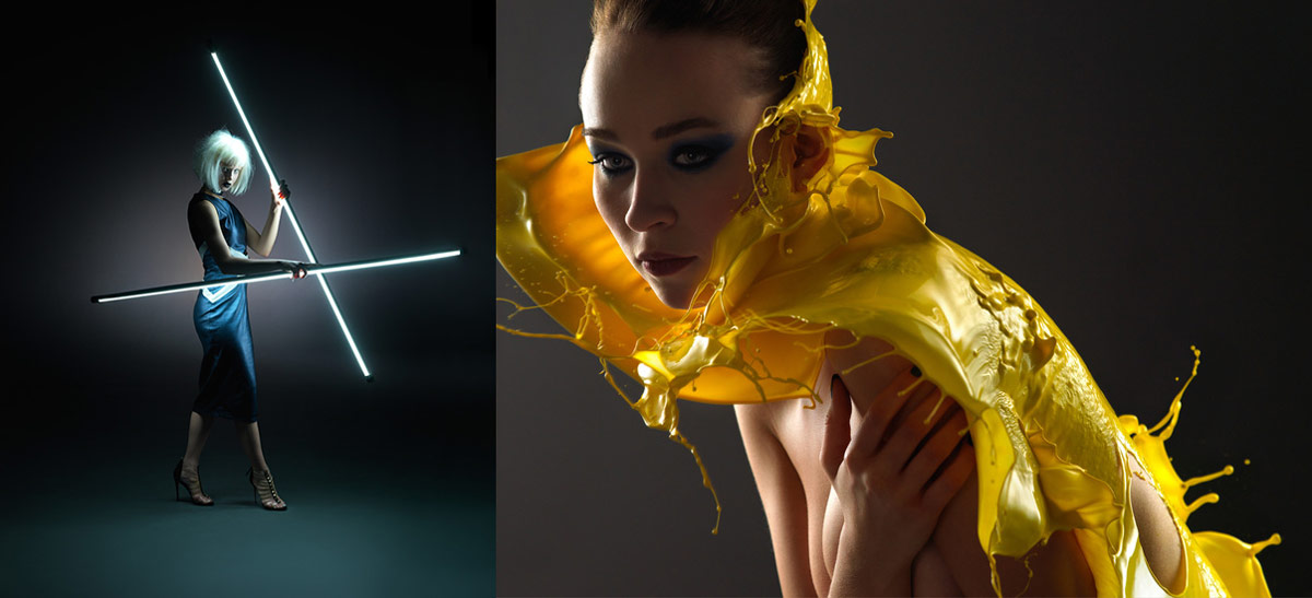 Montage of two fashion photographs. One using light sticks and the other a fast flash duration splash photo.