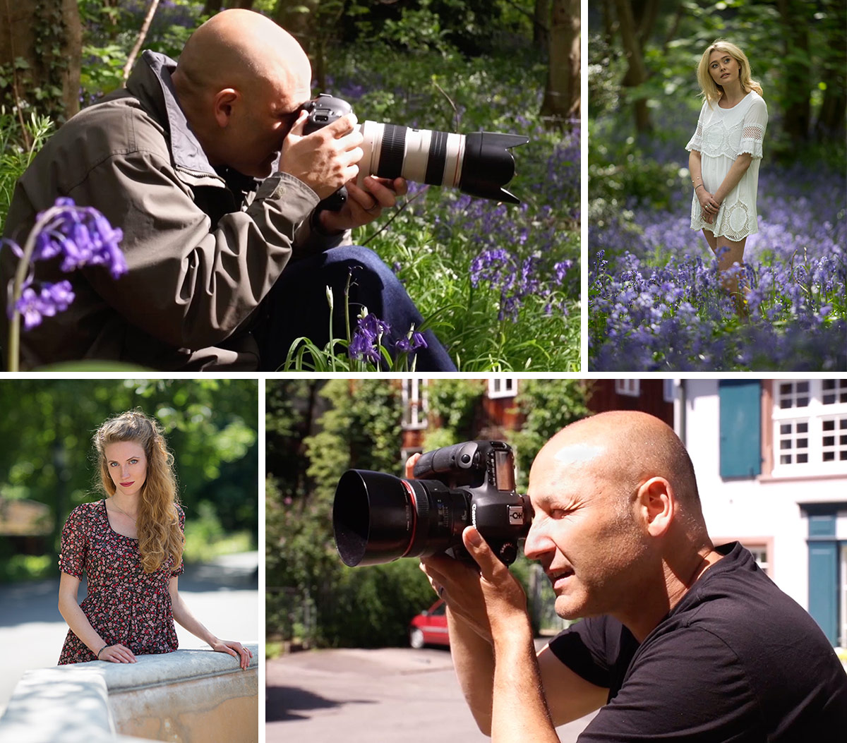 Example images of Karl Taylor capturing models for natural light portraiture training.