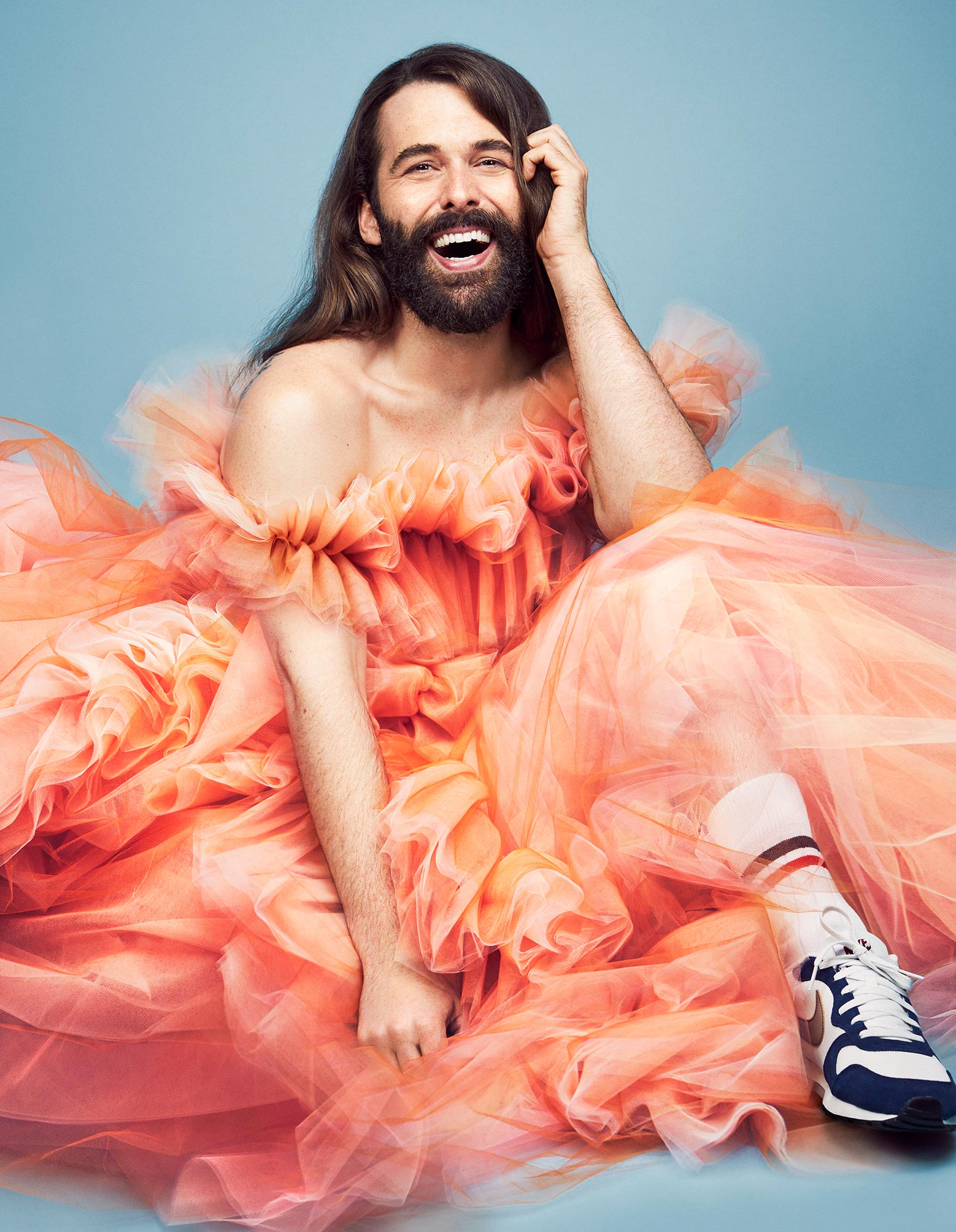 Bearded man in orange dress - Fashion photography by Rachell Smith