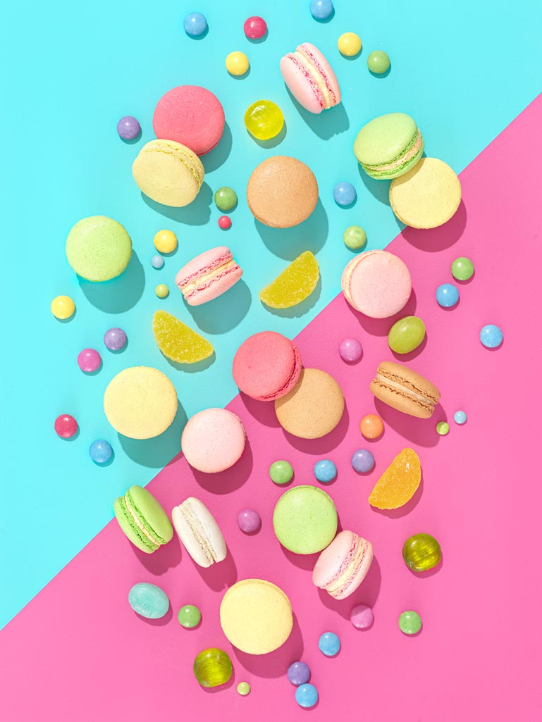 Colourful still life photography of colorful macarons