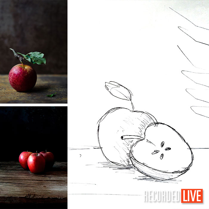 Apple photos and sketch of apples for photography brief