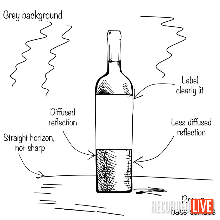Sketch of wine bottle for photography brief