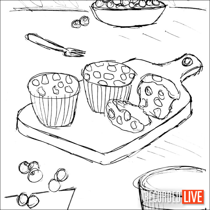 Sketch of blueberry muffins for photography brief