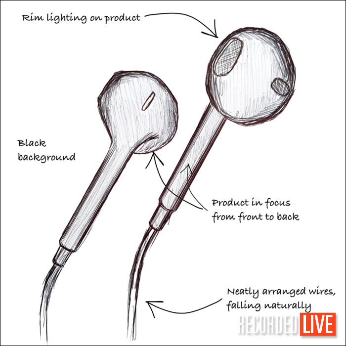Sketch of earphones for photography brief